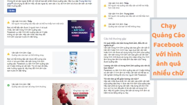 Chạy Quảng Cáo Facebook Với Hình ảnh Quá Nhiều Chữ