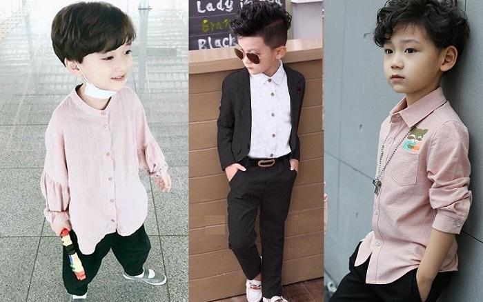 Bé trai vẫn có thể mặc những mẫu áo sơ mi màu pastel với phong cách thời trang Hàn Quốc.