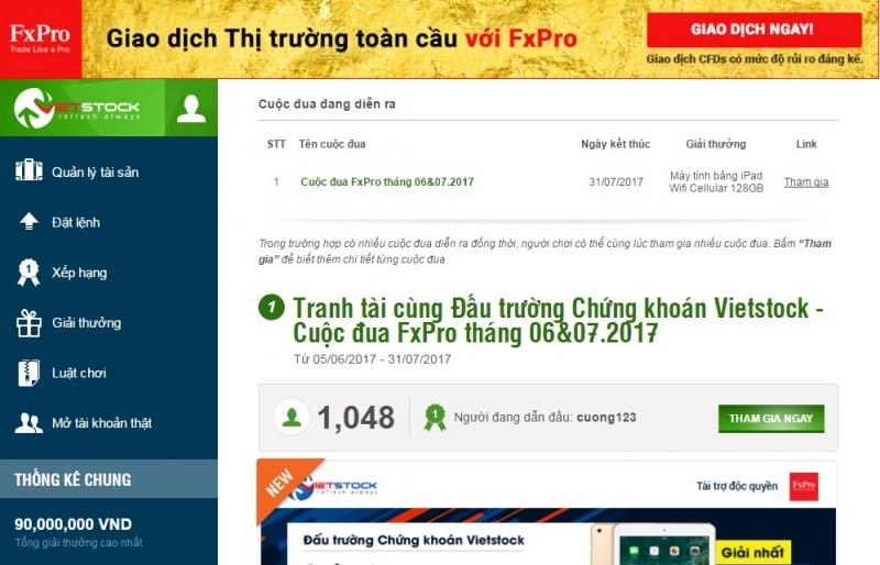 Giao diện đáu trường chứng khoán Việt - Vietstock